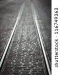 rails on cobblestone street | Shutterstock . vector #116749363