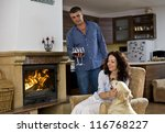 Love over the fireplace at home - stock photo