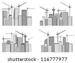 set of a large cities under... | Shutterstock .eps vector #116777977