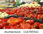 Red capsicum in a big grocery - stock photo