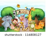 Stock vector illustration of a zoo and the animals in a beautiful nature 116808127