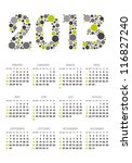 vertical calendar 2013 year with retro dots theme - stock vector