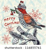 Christmas vector illustration of a colored winter bird - stock vector