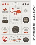 Set of christmas vector elements, vintage banner, ribbon, labels, frames, badge,  stickers. Vector Christmas element. Vintage santa claus, ornaments and decorative element - stock vector