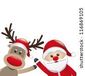 santa and reindeer red nose behind santa claus - stock vector