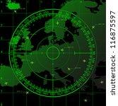 green radar screen over square... | Shutterstock . vector #116875597