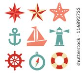 nautical icons   a set of 9... | Shutterstock .eps vector #116892733