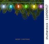 christmas card with fir tree...