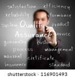 business man writing quality assurance concept - stock photo