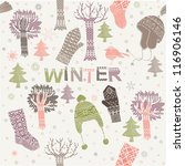 Christmas winter pattern - stock vector