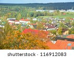 view of cesis town in the... | Shutterstock . vector #116912083