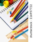 School stationery on the white - stock photo