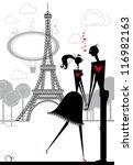 lovers in paris. romantic day... | Shutterstock .eps vector #116982163