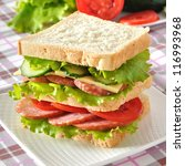 Fresh and tasty sandwich on a white plate - stock photo