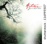 autumn poster with misty forest | Shutterstock . vector #116995507