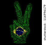 Brazil flag and peace info-text graphics arrangement concept composed in peace sign shape on black background - stock photo