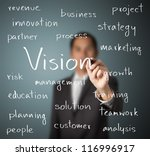 business man writing concept of vision - stock photo