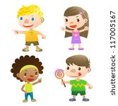 cute kids pointing open arms... | Shutterstock .eps vector #117005167