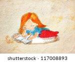 writing girl.vintage | Shutterstock . vector #117008893