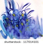 Blue Flowers painted in watercolor - stock photo