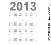 simple 2013 year vector calendar | Shutterstock .eps vector #117020047