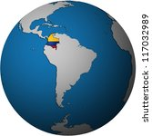 map with flag of colombia on isolated over white map of globe - stock photo