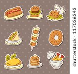 fast food stickers draw | Shutterstock .eps vector #117036343