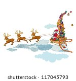 santa claus flying in the sky... | Shutterstock .eps vector #117045793