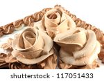 piece of chocolate cake on... | Shutterstock . vector #117051433