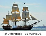 HALIFAX, CANADA - JULY 23: The tall ship HMS Bounty, a replica of the famous ship, during the parade of sail July 23, 2012, in Halifax, Nova Scotia.  It was sunk during Hurricane Sandy in 2012. - stock photo