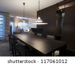 Modern dininig room interior - stock photo
