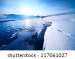 Winter River With Ice On A...