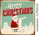 vintage metal sign   merry... | Shutterstock .eps vector #117065113