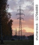 Autumn urban landscape with a power line - stock photo