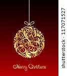 gold christmas ball on red... | Shutterstock . vector #117071527