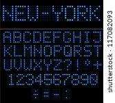 blue led vector alphabet and... | Shutterstock .eps vector #117082093