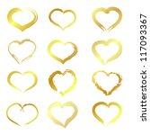 golden hearts. golden hearts... | Shutterstock .eps vector #117093367