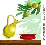 celebrate hanukkah background with oil and olive tree israel symbols - stock vector