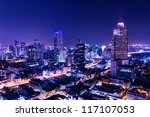 aerial view of bangkok at twilight night - stock photo