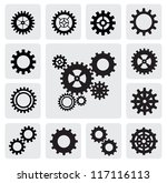 vector black gearwheel... | Shutterstock .eps vector #117116113