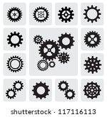 vector black gearwheel... | Shutterstock .eps vector #117116113