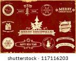 set of original christmas... | Shutterstock .eps vector #117116203
