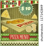 Vintage card Menu for Pizzeria - vector illustration - stock vector