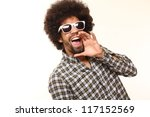 Funky funny afro man - stock photo