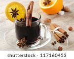 mulled wine with spices  and... | Shutterstock . vector #117160453
