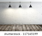 white brick room with ceiling lamp - stock photo