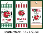 set of pizza labels - stock vector