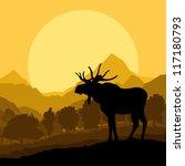 moose in wild nature landscape... | Shutterstock .eps vector #117180793