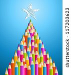 multi colored art pencils in... | Shutterstock .eps vector #117203623