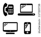 Communication icons set: telephone, internet, television and mobile phone - stock vector